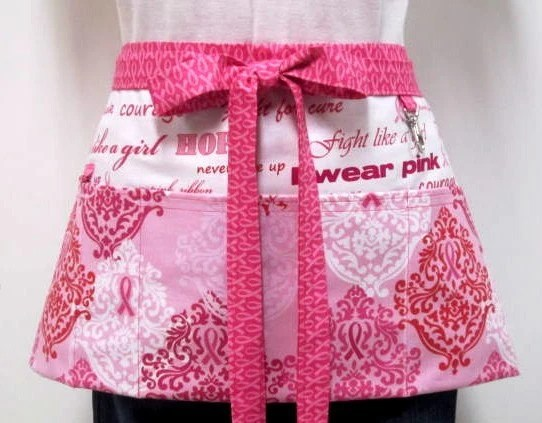 BREAST CANCER AWARENESS Zipper/Key Clasp Vendor Apron