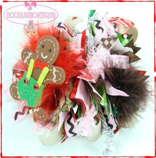 Custom Boutique Hair Bow Funky Loopy Christmas GingerBread Man