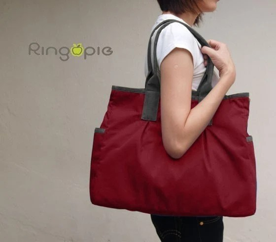 Red and Grey Canvas Tote - 022