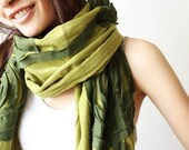 Cozy and Chic with Vine Floral in Emerald Green Soft Cotton Scarf
