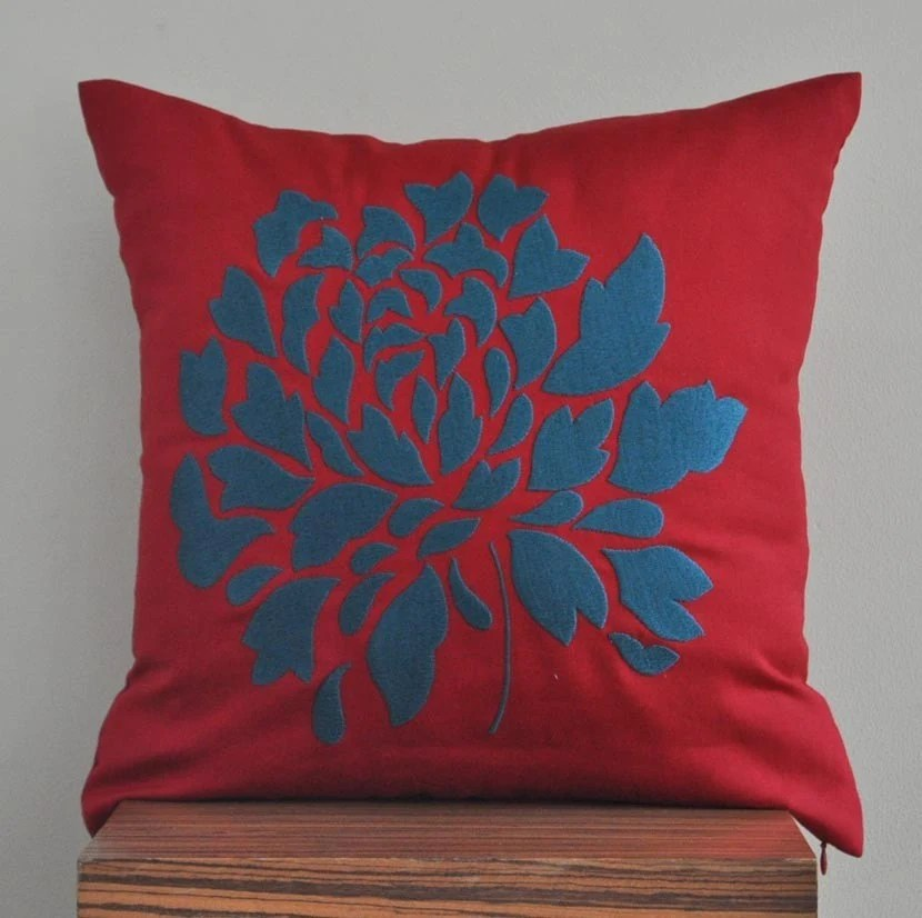 Amazing Dahlia Throw Pillow Cover -  18 x 18 inches Linen Decorative Pillow Cover - Deep Red Linen with Dark Blue Gray Floral Embroidery
