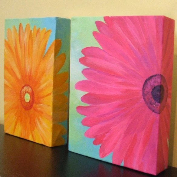 Pink and Orange Daisy - Set of Two 5x7 Original Acrylic Canvas