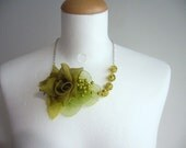 A romance in light  green necklace