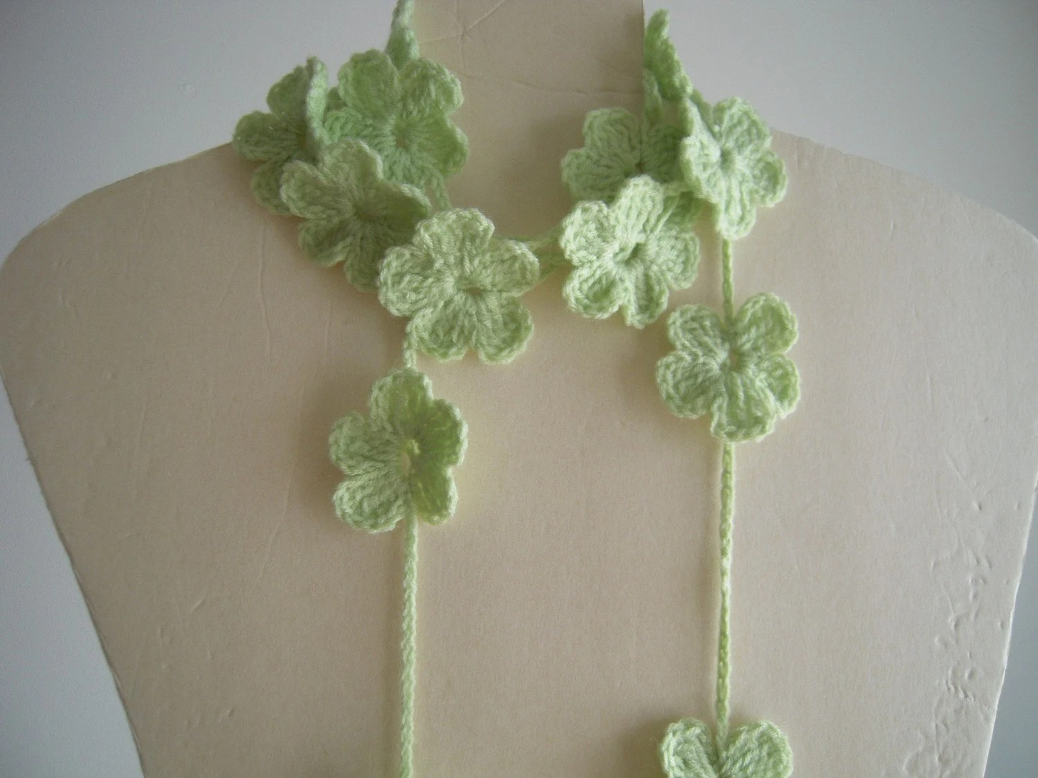 Light Green Lariat, Necklace, Scarf, Scarflette
