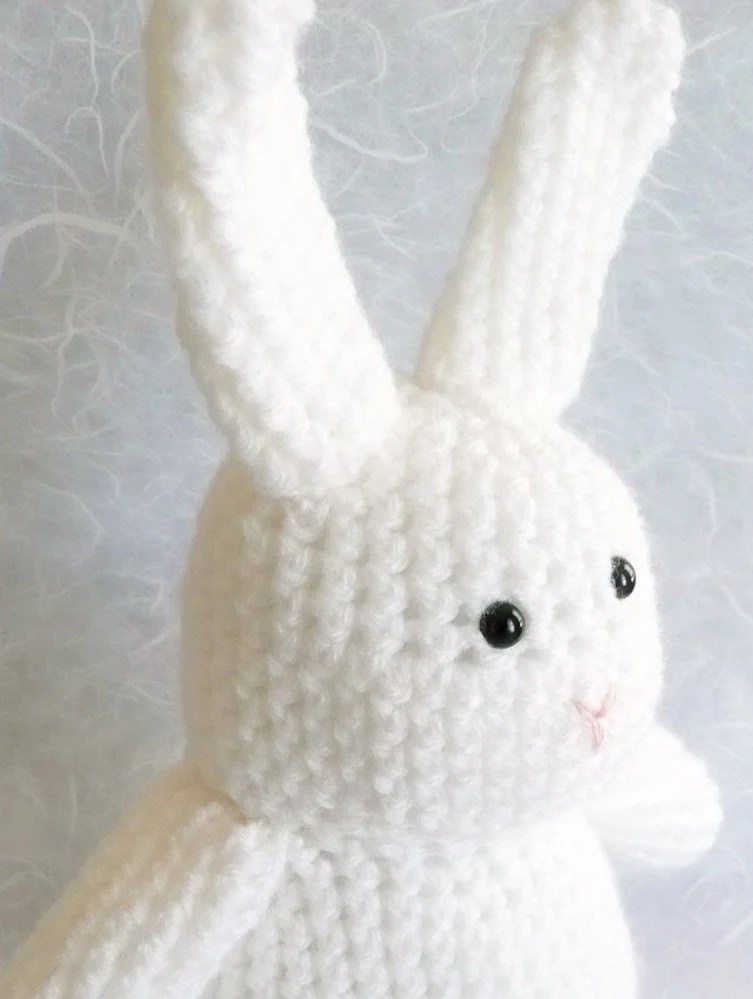 "White crochet bunny rabbit - 12"" tall - READY TO SHIP"