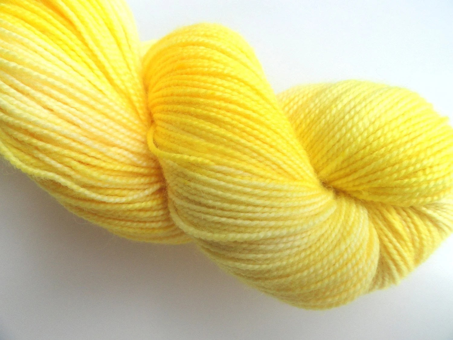 I Dare Ya Hand Dyed Sock Fingering Weight Merino Wool Yarn FREE PATTERN Bright Sun Yellow Lemon