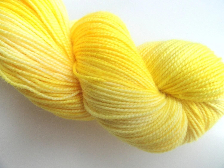 I Dare Ya Hand Dyed Sock Fingering Weight Merino Wool Yarn FREE PATTERN Bright Sun Yellow Lemon