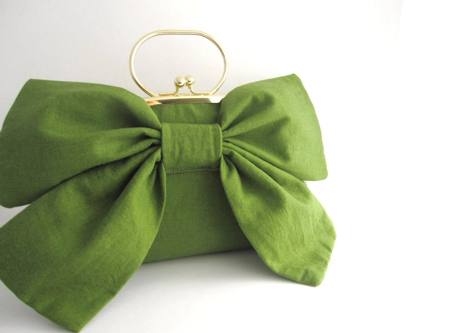 Large Bow Clutch with Handle - green linen