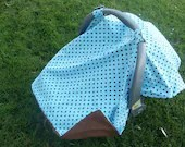 Infant Car Seat Cover Blue and Brown