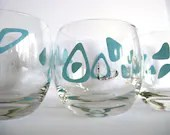 Roly Poly Glasses 60's Retro Vintage Light Blue Gold Barware Set of Three (3)
