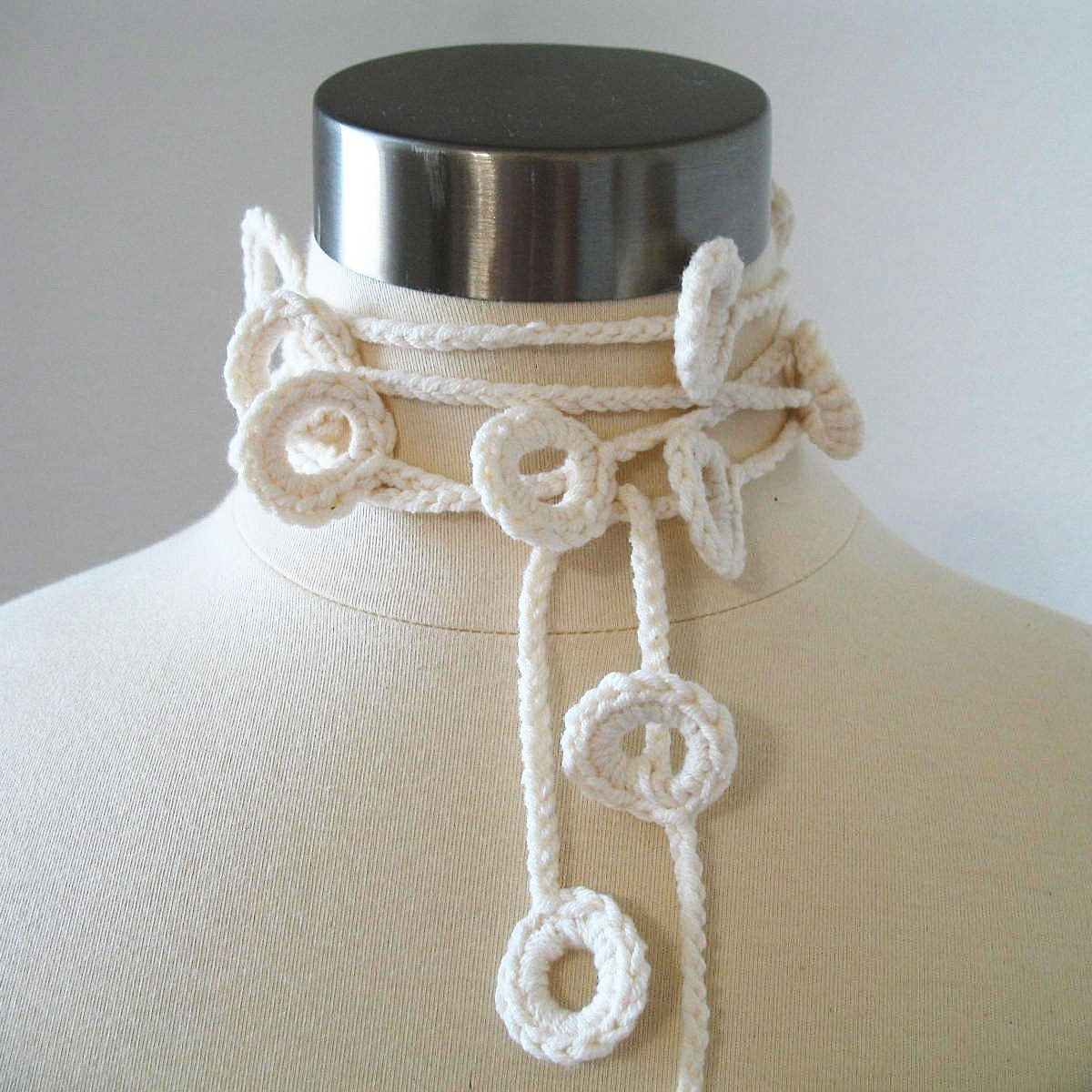 Loopy Loops Lariat - Women Whimsical, Delicate, Light, All Season, Spring, Summer, Fiber Jewelry in Vanilla Cream