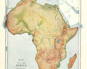 VINTAGE Ephemera - Relief Map of Africa
