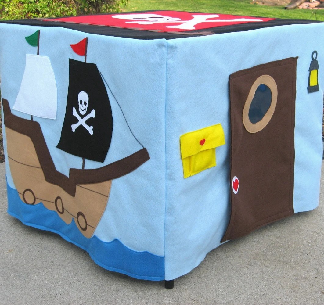 Pirate Card Table Playhouse, Personalized, Custom Order, Includes Cool Pirate Messenger Bag