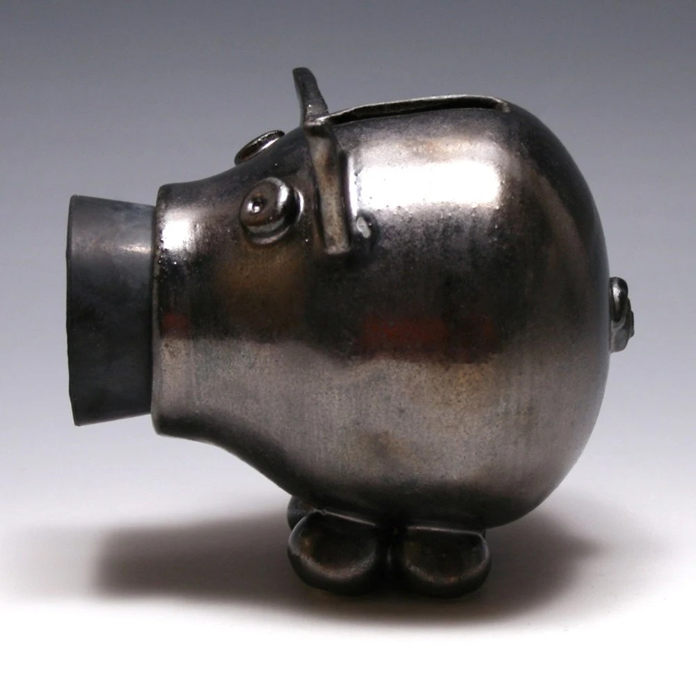 Black Metallic Piggy Bank