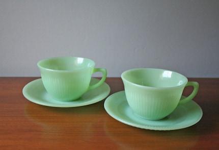 set of 2 vintage jadite cup and saucer