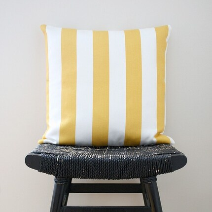 YELLOW WHITE STRIPES Cotton Pillow Cover, Cushion 45 x 45 cm