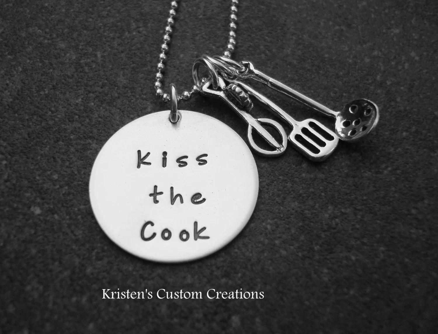 Kiss The  Cook hand stamped sterling silver necklace