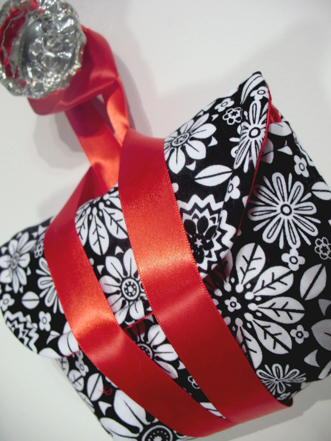 Black and White Floral Camera Wristlet by Megnificent Made