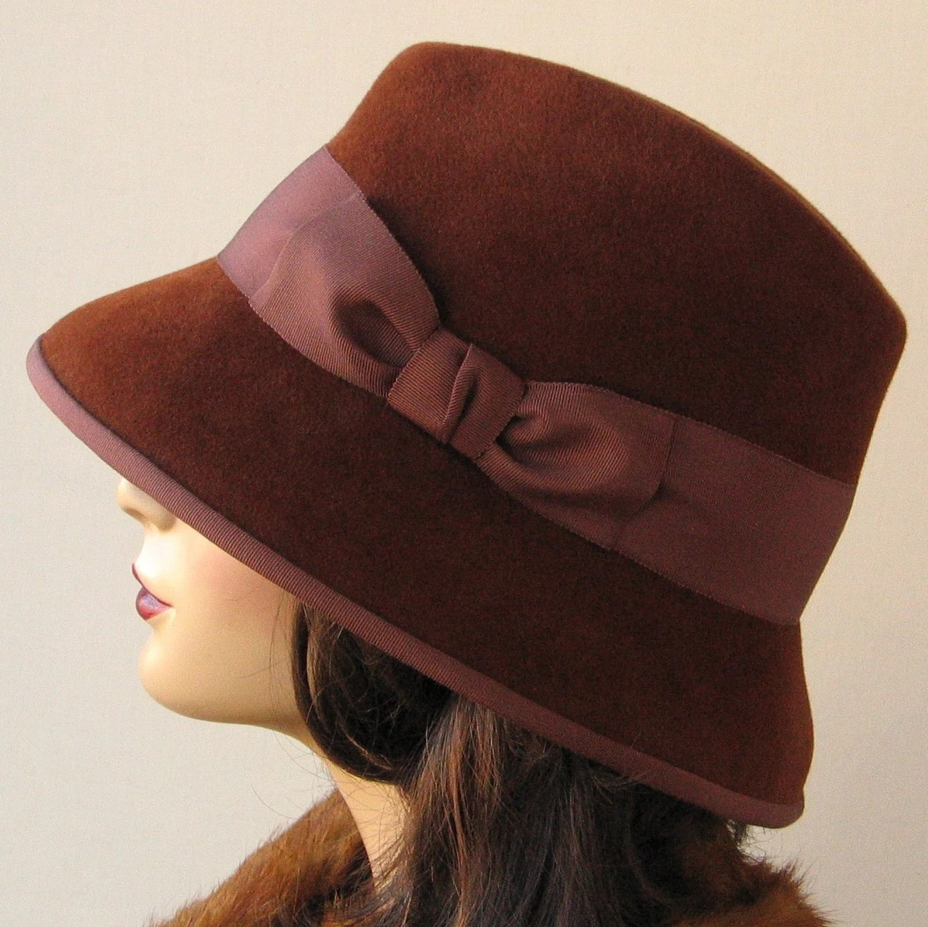 Brown wool velour fedora style hat