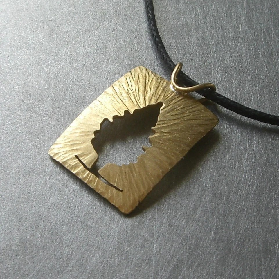 Reversible Brass Radial Cedar Tree Pendant by Beth Millner