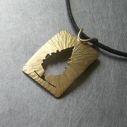Reversible Brass Radial Cedar Tree Pendant by Beth Millner