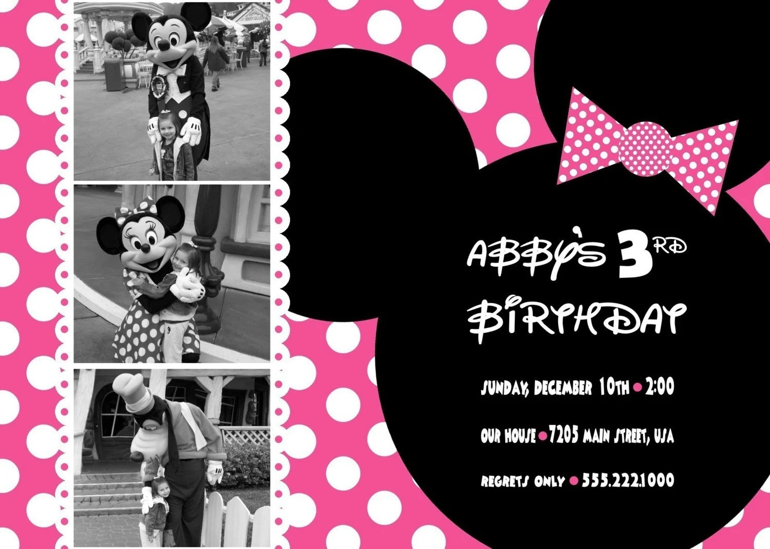 Custom You Print Digital Photo Birthday Invitation.Minnie Mouse