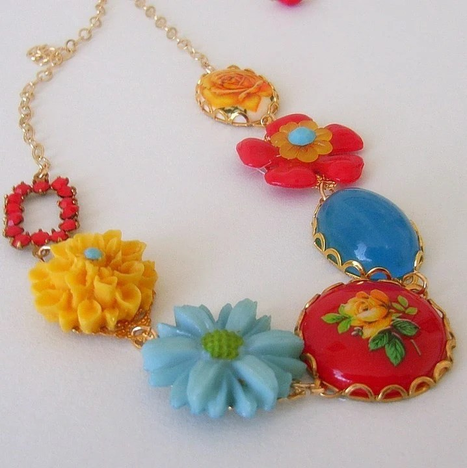Spring Floral Necklace by Divinerose