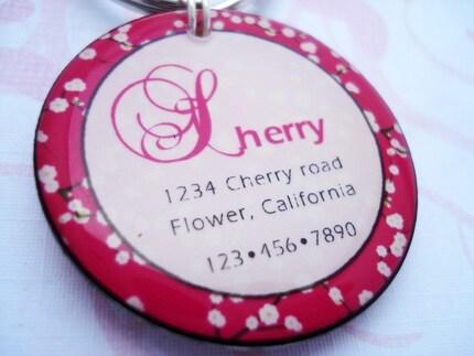 Pink Cherry Blossom Pet ID Tag