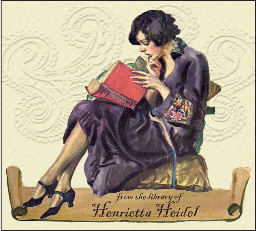 Bookplate-Set of 12 Personalized - Woman in Chair