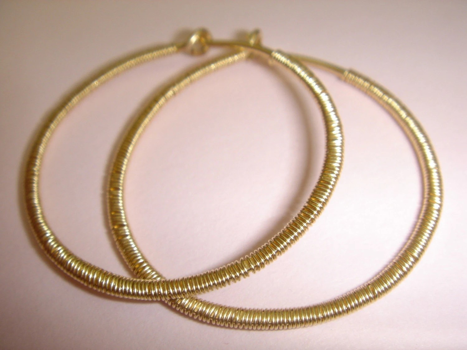 Just Another Pair of Hoops  BUT    TEXTURED    Gold fill Wire Wrapped Hoop Earrings