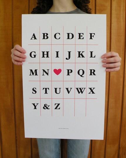 I heart U Alphabet Print