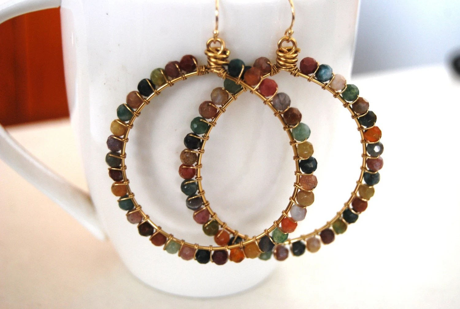 Indian agate wrapped hoops