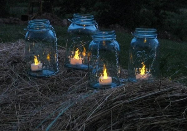Vintage Quart Size Ball Mason Jars Turned Hanging Lanterns or Vases