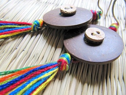 Coconut Shell and Colorful Tassel Earrings