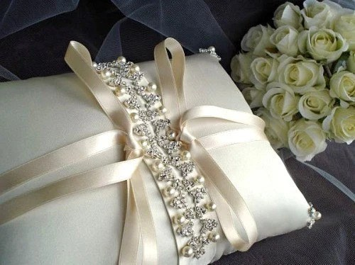 Isadora Rhinestone Beaded Ivory Silk Ring Bearer Pillow