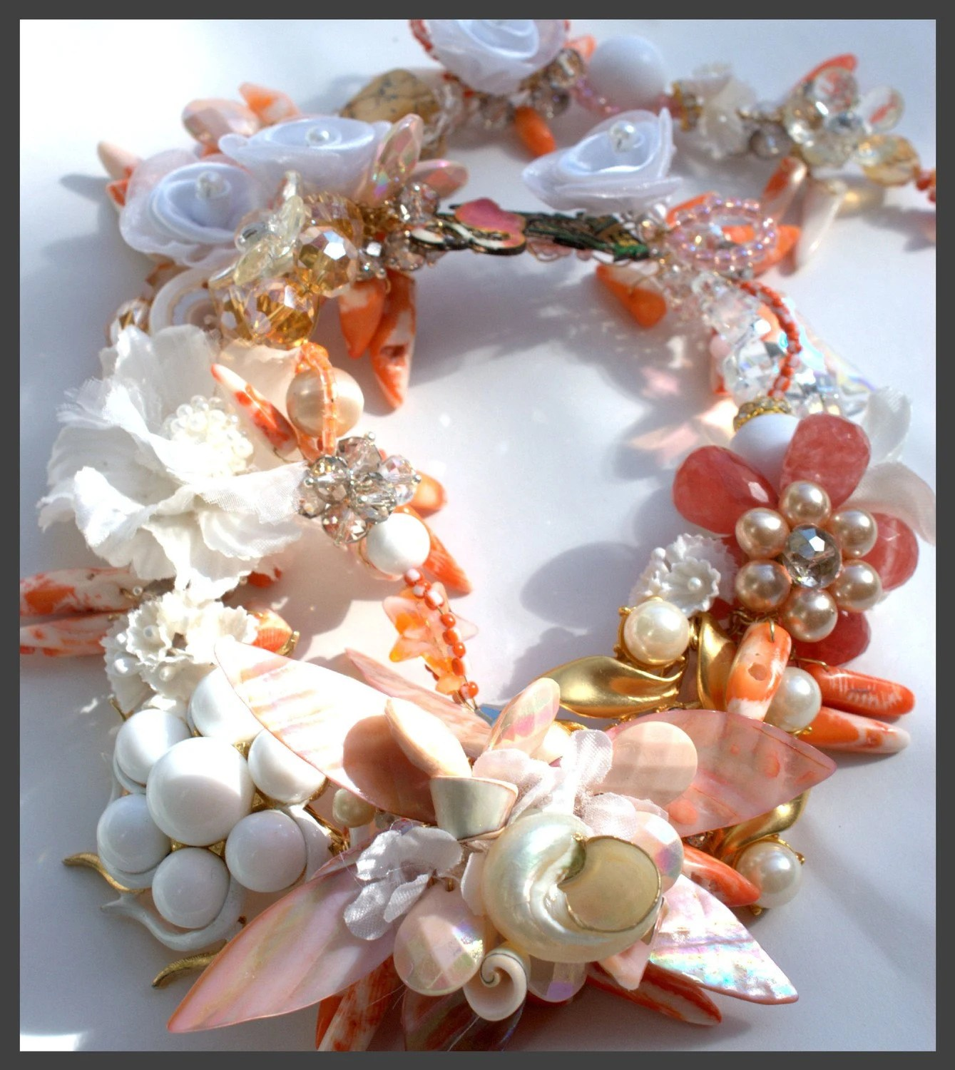 pink and tangerine shell necklace