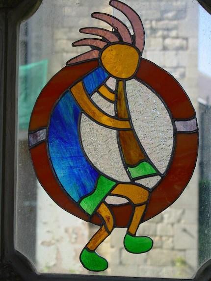 Handcrafted Stained Glass Kokopelli Window Panel