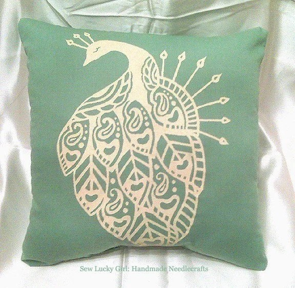 Peacock Pillow-Minty Sage Green and Buttery Ivory Yellow-Retro Hand Silkscreened Pillow-FREE DOMESTIC SHIPPING