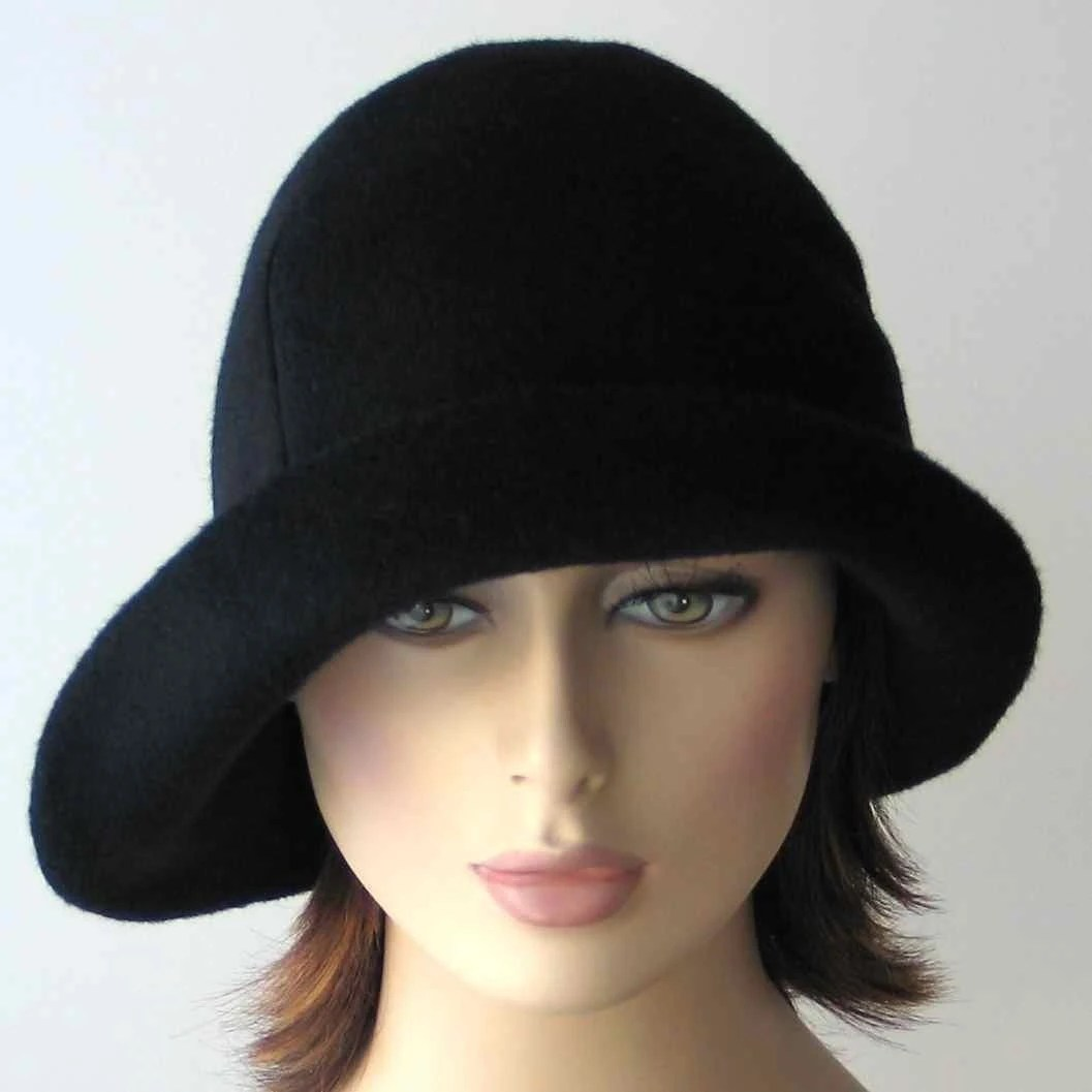 Black wool cloche