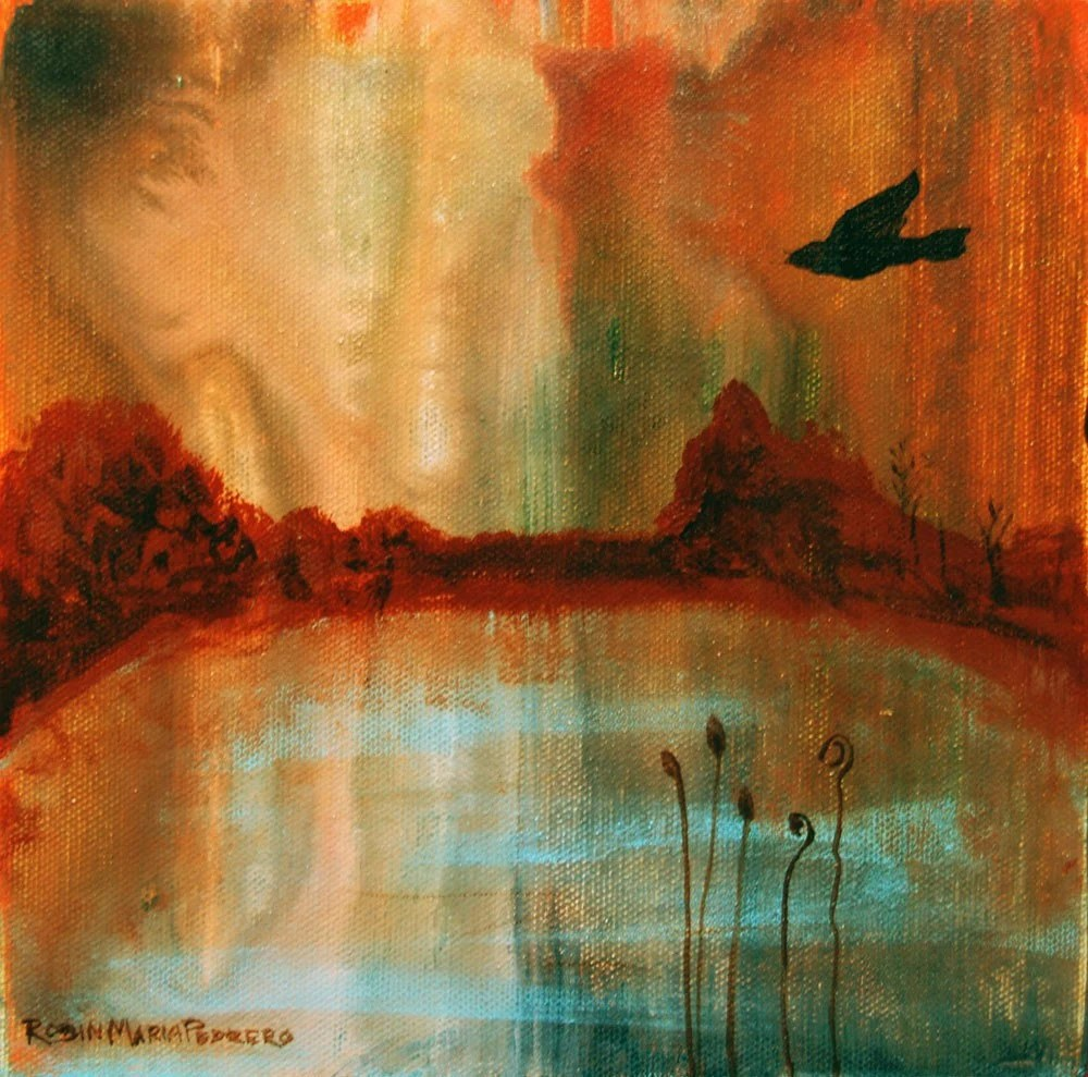 Secret Solitary Bird in a landscape with water and emotive sky free usa shipping