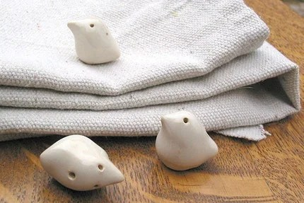 Set of 3 creamy white peace dove bird ceramic stoneware Christmas ornaments
