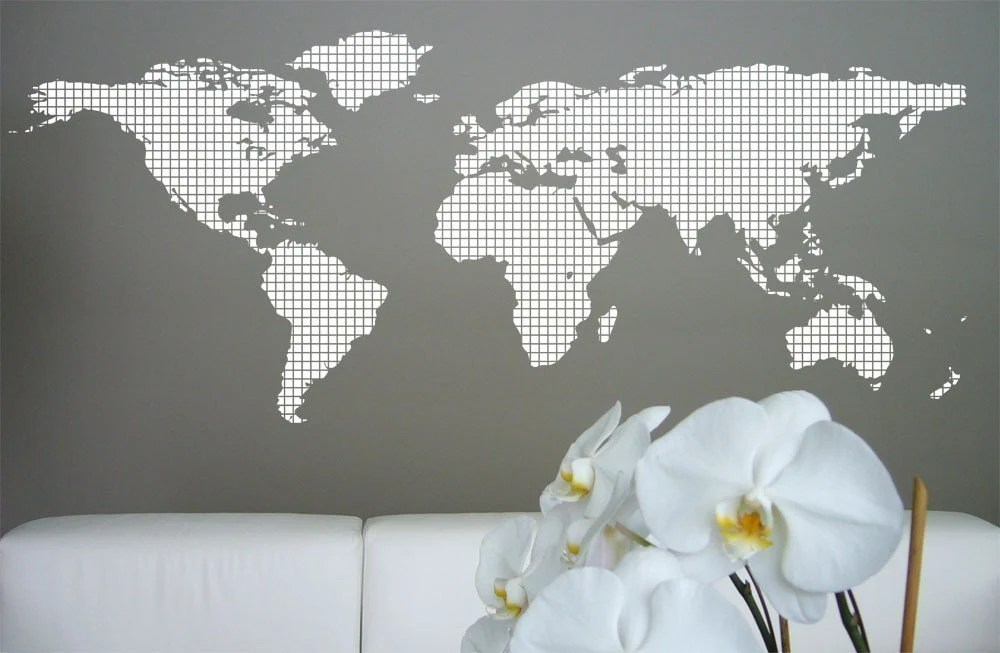 Dot Matrix World Map, Large - Vinyl Wall Art