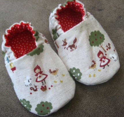 SALE, Reversible Baby Shoes, Little Red Riding Hood