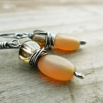 Autumn Flavor Sterling Silver Glass Drop Earrings Handmade