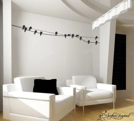 Vinyl wall art decals -- Birds on a Wire Wall Decal -- Inspiring Designs by Surface Inspired