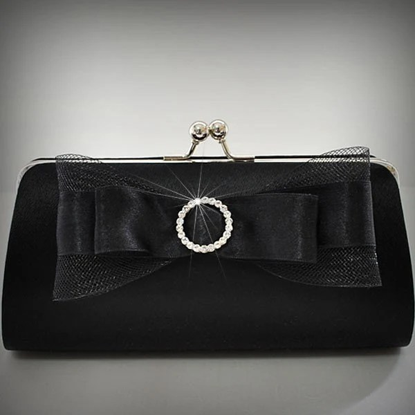 The Black Satin Clutch with Crystal Bow..Medium size