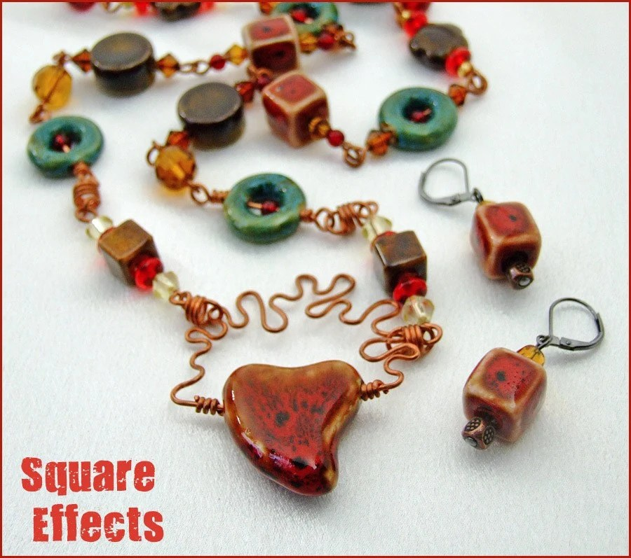 SALE for EBTW - etsyBEAD - Ceramic and copper 26 inch necklace and earrings