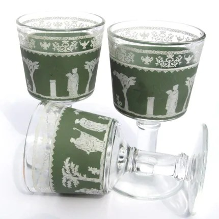 Jeanette Wedgwood Green Hellenic Grecian Glasses
