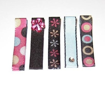 Simply Night Out Hair Bow 5 Pack Clippies - Non Slip Grip - FREE SHIPPING