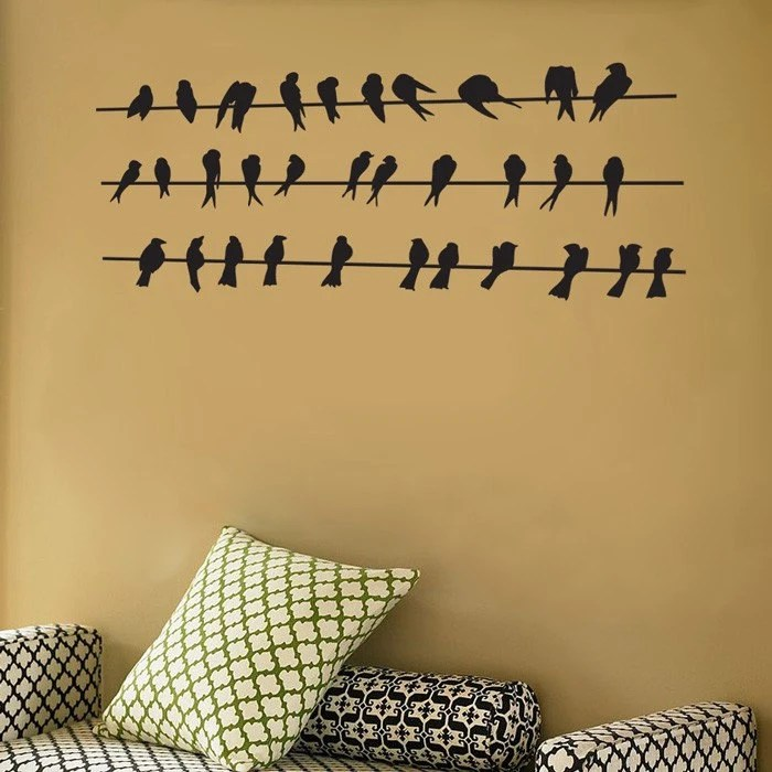 Birds Perched on the Wires - Vinyl Wall Decals - Your Choice of Color